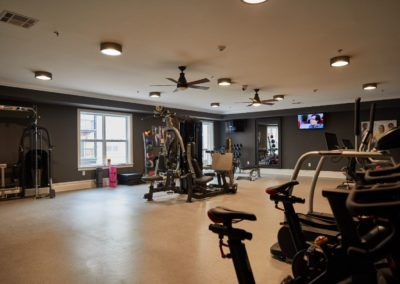 weights in the fitness center for The Winston at Lyndhurst apartments in NJ
