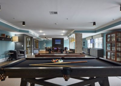 Pool tables in the resident clubhouse at The Winston at Lyndhurst apartments in NJ