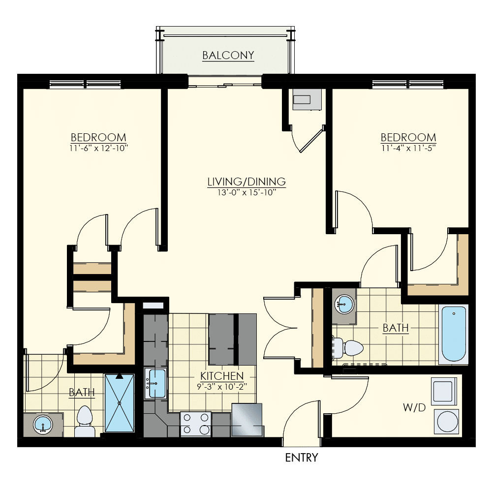 The Winston at Lyndhurst Two Bedroom Floor Plan Unit B3