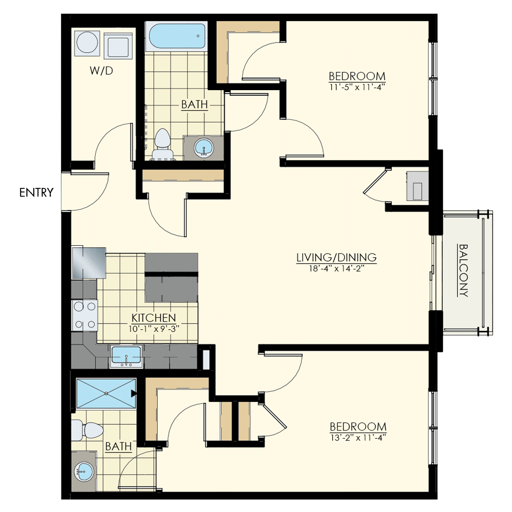 The Winston at Lyndhurst Two Bedroom Floor Plan Unit B4
