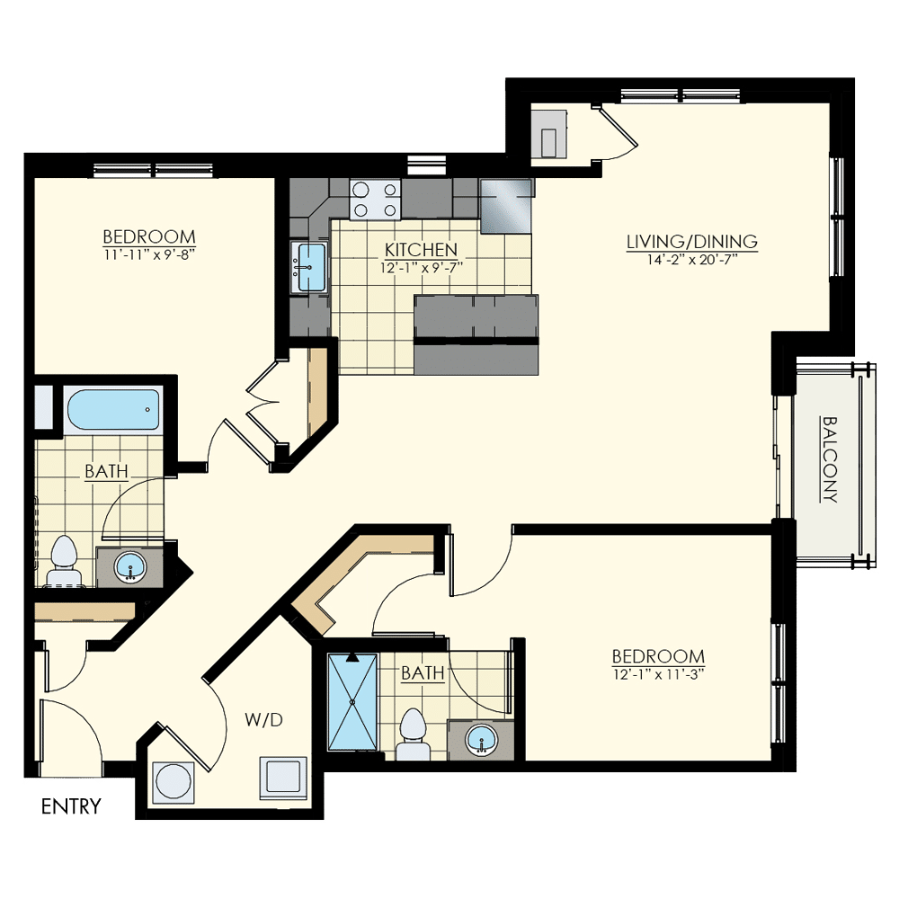 The Winston at Lyndhurst Two Bedroom Floor Plan Unit B5