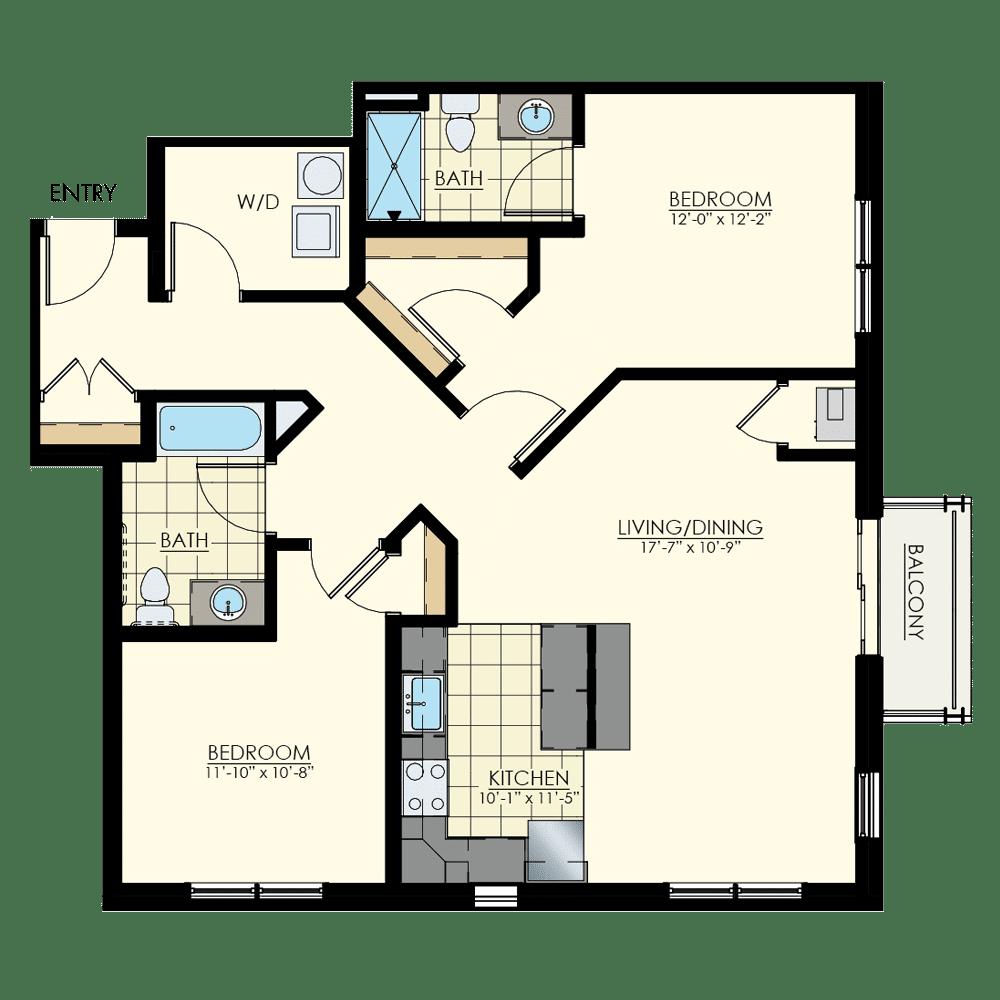 The Winston at Lyndhurst Two Bedroom Floor Plan Unit B6