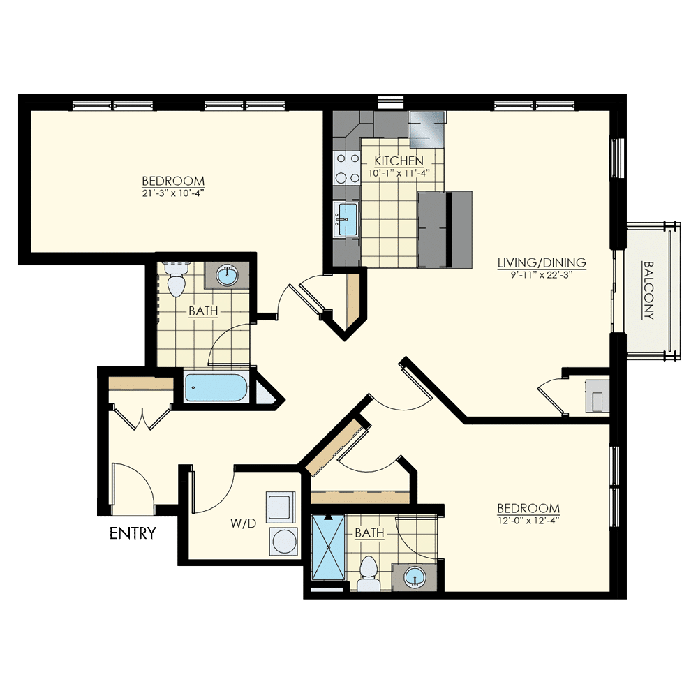 The Winston at Lyndhurst Two Bedroom Floor Plan Unit B8